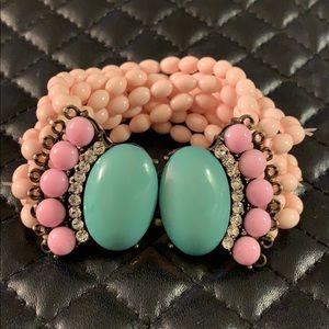 FP Boho Pastel Resin Crystal Bead Bracelet